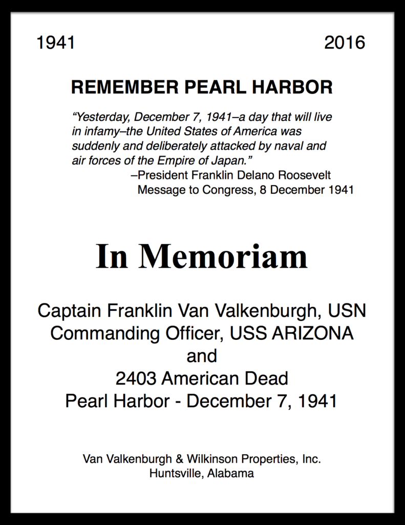 Pearl Harbor Day In Memoriam