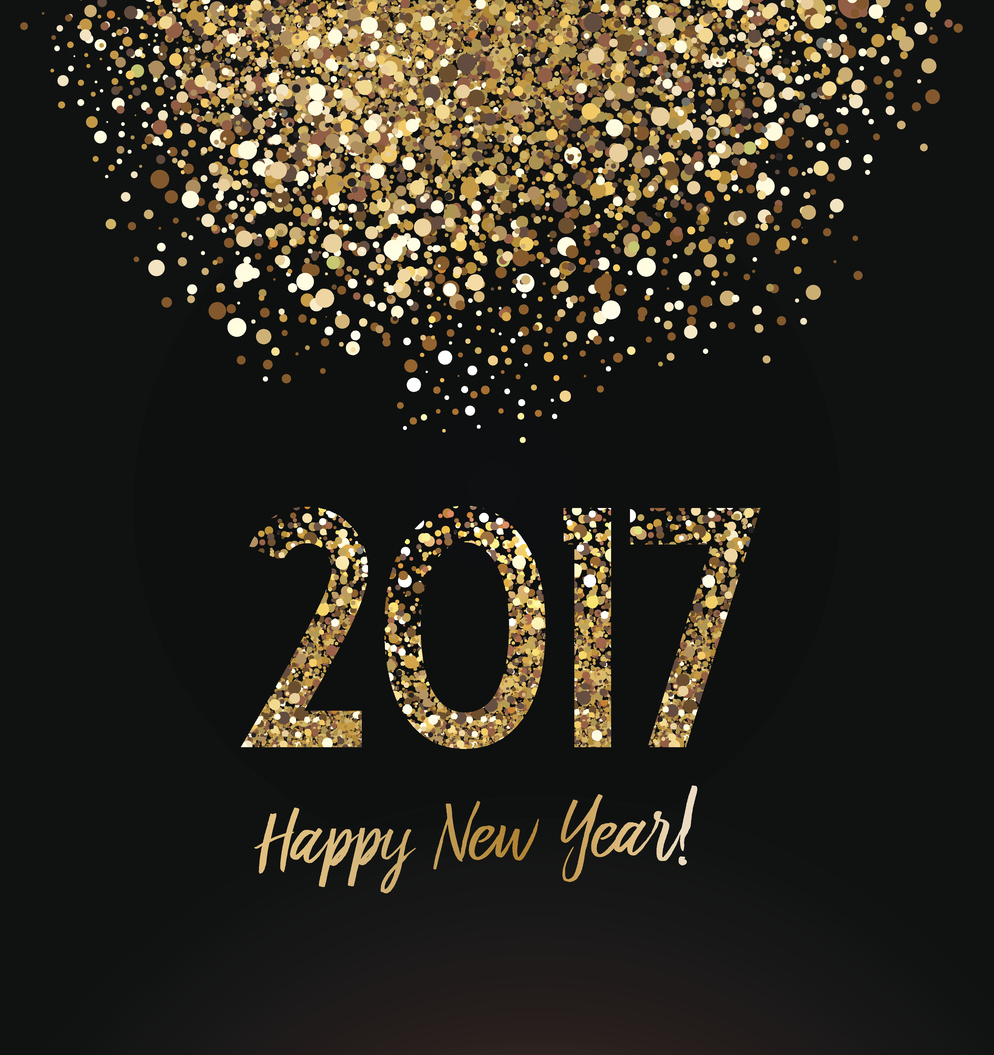 Happy New Year card with glittering background.