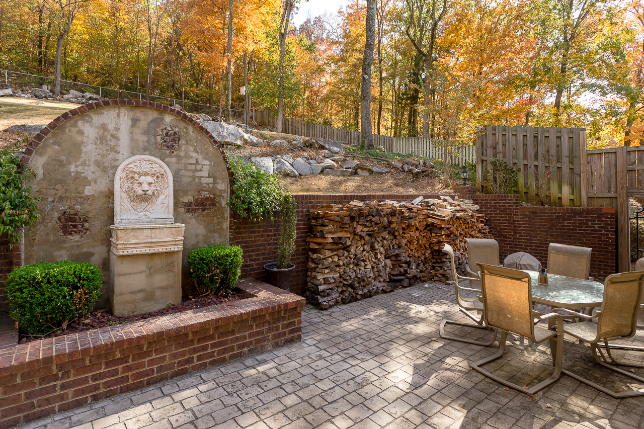 Lovely back-yard entertaining area at 1404 Toney Drive, Huntsville, Alabama, in the Jones Valley area.