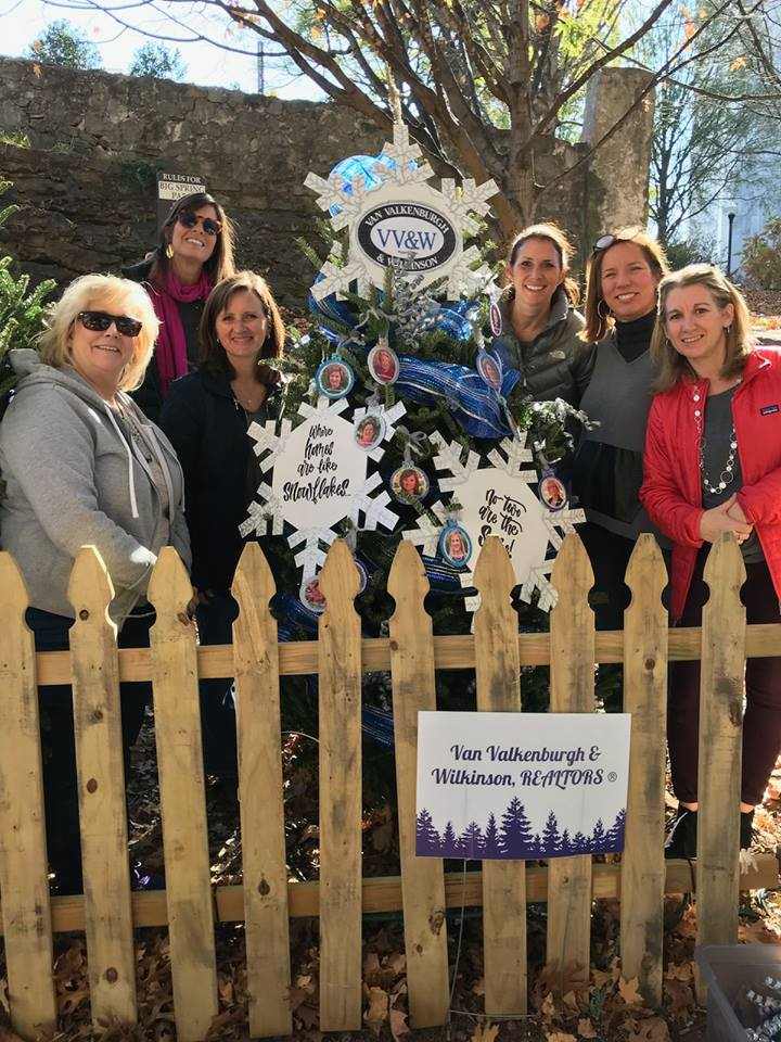 Sarah with the VV&W team decorating our tree at Huntsville's Tinsel Tree Trail last week.