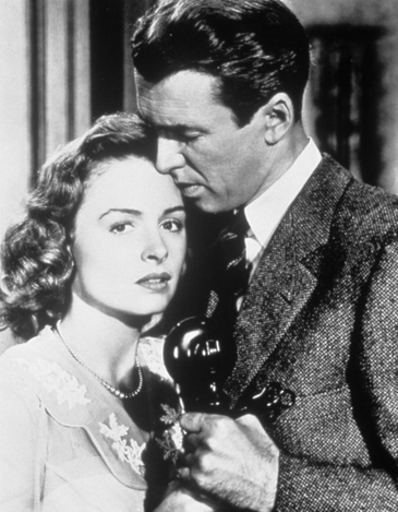 Donna Reed and Jimmy Stewart in a scene from It's a Wonderful Life